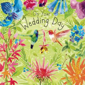 FIZ81  Hummingbirds Wedding Day Card